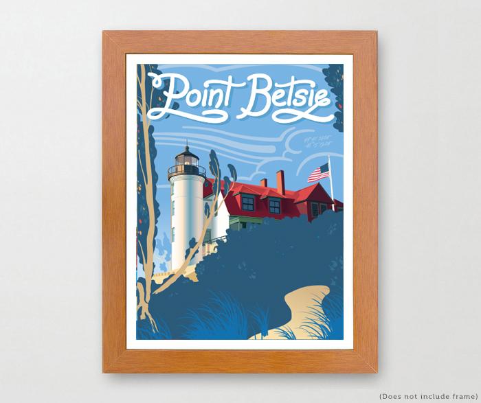 The mighty mitten point betsie michigan travel art prints